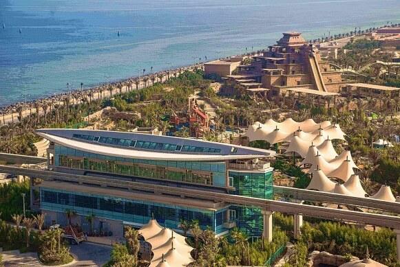 An aerial photo of Aquaventure station at Atlantis Hotel in Dubai