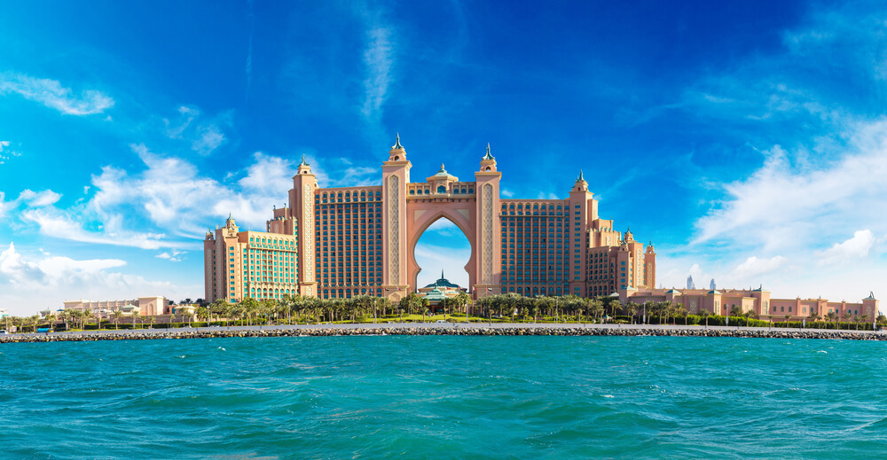 An aerial photo of Atlantis Hotel from the sea
