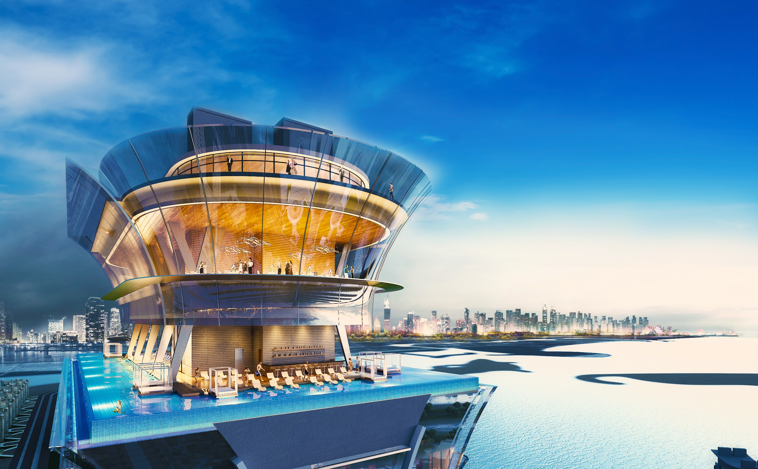 A 3D design of The Pointe's observation deck - The View in Dubai