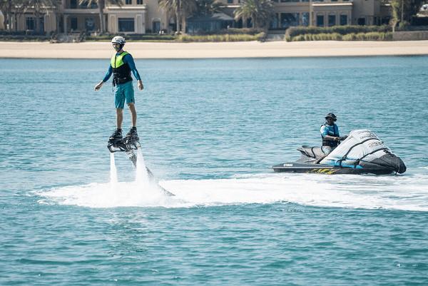 Palm Jumeirah's flyboarding activity in Dubai